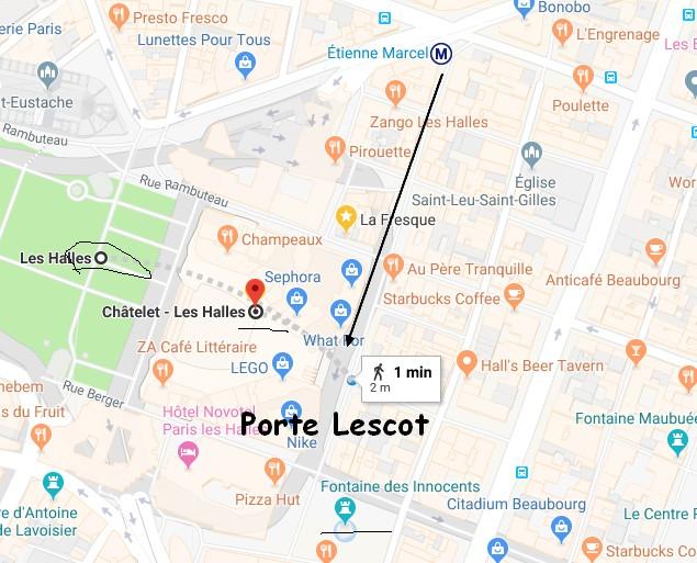 -Depuis le RER  les halles ou le métro châtelet les halles (ligne1, 4 , 7, 11, 14 accessible) prendre la rue des Halles, la rue Pierre Lescot pour se rendre devant la porte Lescot (entrée du dôme des halles) près de place de la Fontaine des innocents